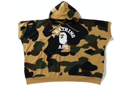 BAPE 1st Camo College Poncho Pullover Hoodie Yellow (SS21)の写真