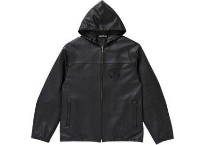 The Black Eye Patch Hooded Emblem Leather Jacket Black (SS21)の写真