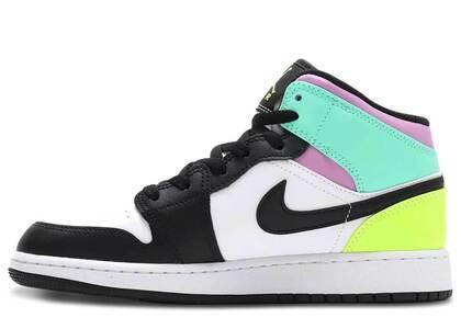 Nike GS Air Jordan 1 MID White/Black-Volt-Green Growの写真