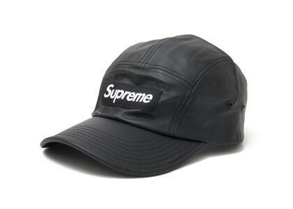 Supreme Leather Camp Cap Black (SS21)の写真
