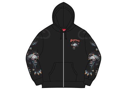 Supreme Panther Zip Up Hooded Sweatshirt Black (SS21)の写真