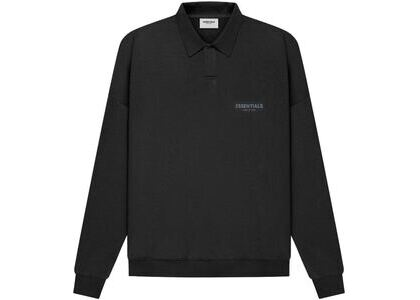 ESSENTIALS Long Sleeve French Terry Polo Black (SS21)の写真