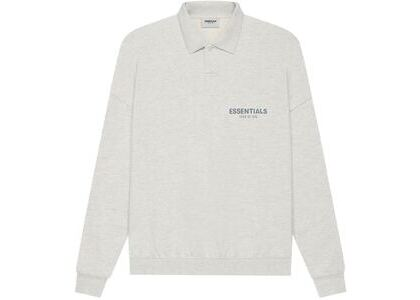 ESSENTIALS Long Sleeve French Terry Polo Light Heather Oatmeal (SS21)の写真