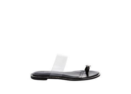 YELLO Ink Crystal Flat Sandals Blackの写真