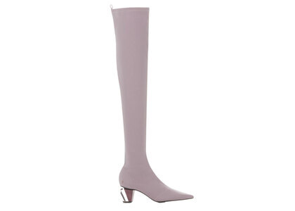 YELLO Sakura Syrup Low Heel Long Boots Pinkの写真