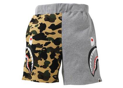 Bape 1st Camo Half Side Shark Sweat Shorts Yellow (SS21)の写真