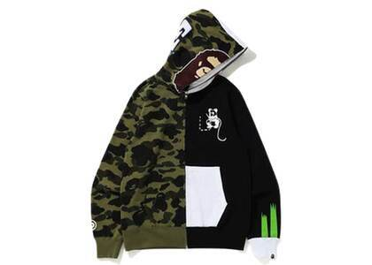 Bape 1st Camo Ape Panda Half Full Zip Hoodie Green (SS20)の写真