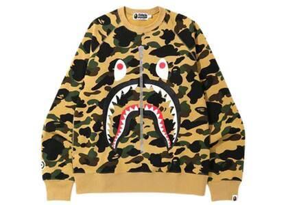 Bape 1st Camo Printed Zip Shark Crewneck Yellow (SS20)の写真