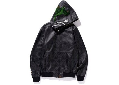 Bape x Coach Leather Shark Hoodie Jacket Black (SS20)の写真