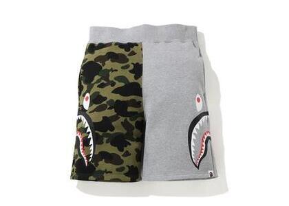 Bape 1st Camo Side Shark Sweatshort Black/Yellow (SS20)の写真