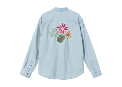 Stussy Flower Emb Denim LS Shirt Light Blue (SS21)の写真