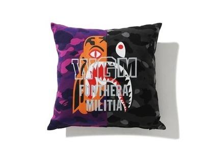 Bape Home Color Camo Tiger Shark Half Square Cushion Purple (SS21)の写真