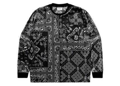 Bape Black Silk Woven Paisley Long Sleeve Tee Black (SS21)の写真
