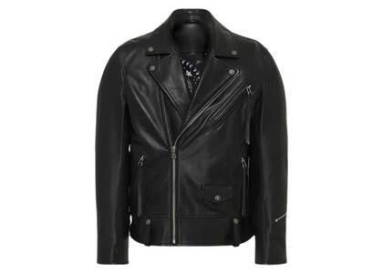 Bape Black Leather Biker Jacket M Black (SS21)の写真