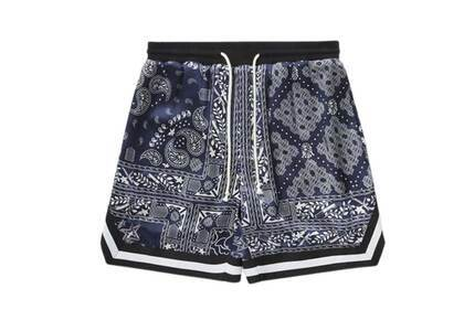 Bape Black Silk Woven Paisley Shorts Navy (SS21)の写真