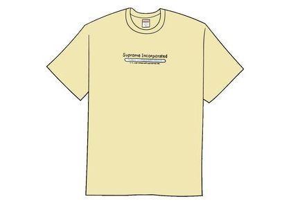 Supreme Inc. Tee Pale Yellowの写真