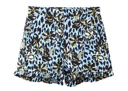 X-Girl Floral Leopard Aloha Ruffle Short Pants Light Blueの写真