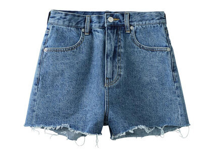 X-Girl Basic High-Waisted Short Pants Light Indigoの写真
