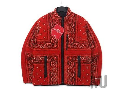 Supreme Reversible Bandana Fleece Jacket Redの写真