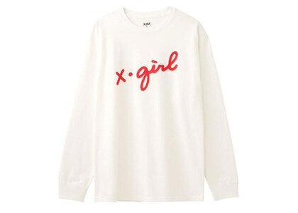 X-Girl 3D Cursive Logo L/S Tee Whiteの写真