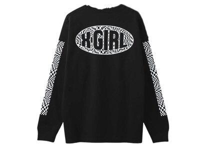 X-Girl Checkered Sleeve Print L/S Tee Blackの写真