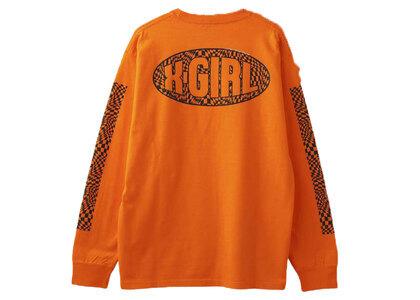 X-Girl Checkered Sleeve Print L/S Tee Orangeの写真