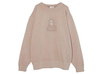 X-Girl Face Pigment Dyed Sweat Top Beigeの写真