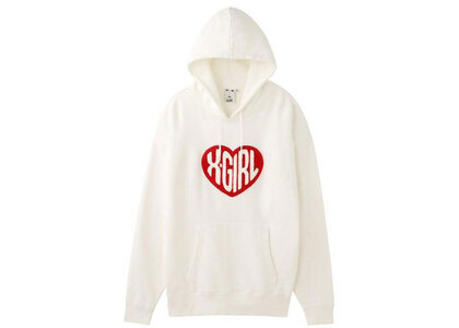 X-Girl Heart Logo Sweat Hoodie Whiteの写真