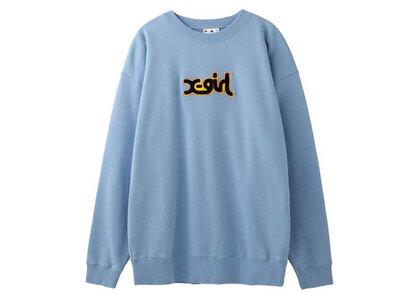 X-Girl Patched Mills Logo Crew Sweat Top Light Blueの写真