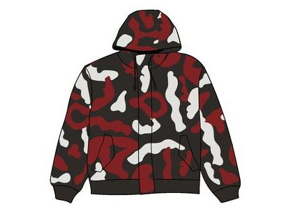 Supreme Camo Leather Hooded Jacket Red Camoの写真