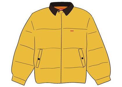 Supreme Leather Collar Puffy Jacket Yellowの写真