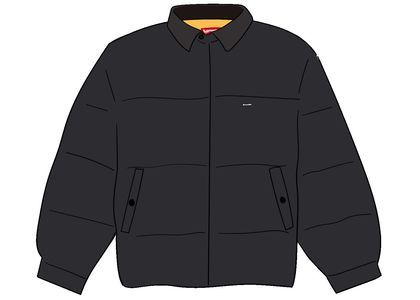 Supreme Leather Collar Puffy Jacket Blackの写真