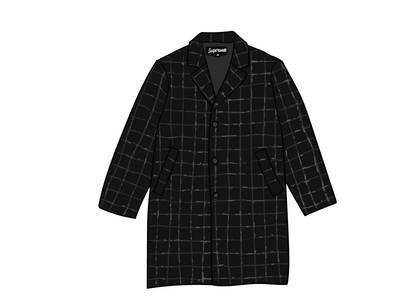 Supreme Wool Windowpane Overcoat Blackの写真