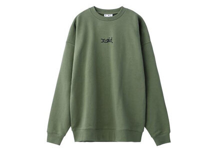 X-Girl Embroidered Mills Logo Crew Sweat Top Oliveの写真