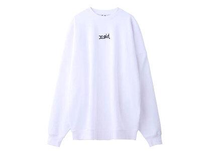 X-Girl Embroidered Mills Logo Crew Sweat Top Whiteの写真