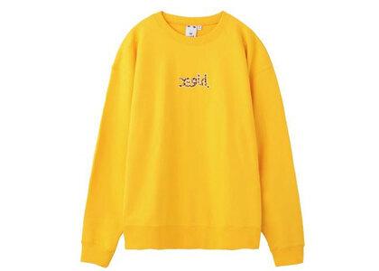 X-Girl Leopard Logo Crew Sweat Top Yellowの写真