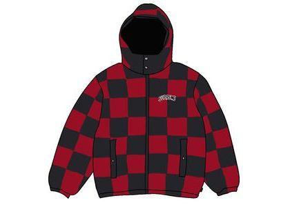 Supreme Checkerboard Puffy Jacket Dark Redの写真