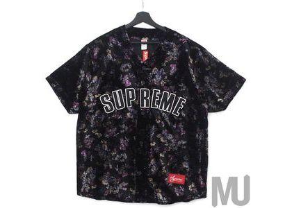 Supreme Floral Baseball Jersey Blackの写真
