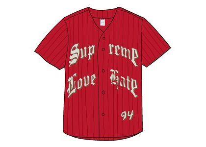 Supreme Love Hate Baseball Jersey Redの写真