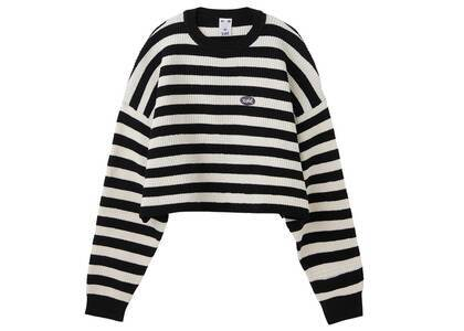 X-Girl Cropped Stripe knit Top Blackの写真