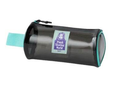 X-Girl Face Pvc Cylinder Pouch Blackの写真