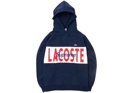 Supreme LACOSTE Logo Panel Hooded Sweatshirt Navy の写真
