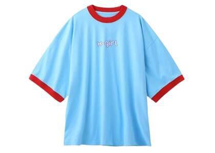 X-Girl Logo Ringer S/S Big Tee Blueの写真