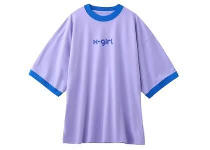 X-Girl Logo Ringer S/S Big Tee Purpleの写真