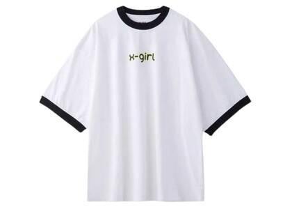 X-Girl Logo Ringer S/S Big Tee Whiteの写真
