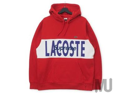 Supreme LACOSTE Logo Panel Hooded Sweatshirt Red の写真