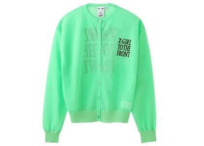 X-Girl Sheer knit Cardigan Greenの写真