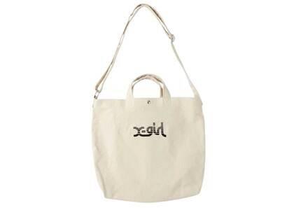 X-Girl Slice Logo 2way Tote Bag Whiteの写真