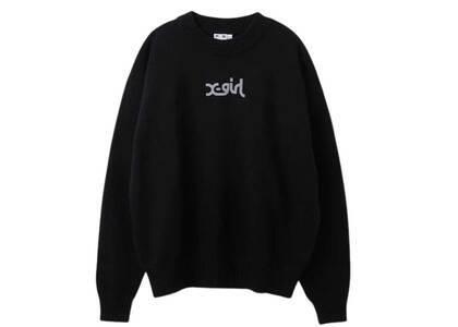 X-Girl Spring Mills Logo knit Top Blackの写真