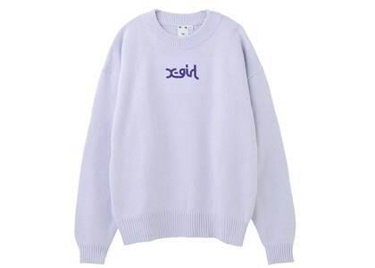 X-Girl Spring Mills Logo knit Top Light Purpleの写真